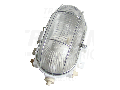 CIL material plastic,protejat, oval, alb, grilaj metalic, II TLH-08FRW 230V, 50Hz, E27, max.60W, IP44, EEI=A++,A+,A,B,C,D,E