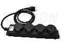 Prelungitor portabil cu cablu din cauciuc, negru KE4-3M 16A/250VAC, IP44, H07RN-F, 3G1.5, 3m, 4�SCHUKO