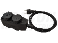 Prelungitor portabil cu cablu din cauciuc, negru KE4-5M 16A/250VAC, IP44, H07RN-F, 3G1.5, 5m, 4�SCHUKO