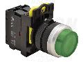 Buton in relief cu semnalizare luminoasa, verde NYG3-HLG 1×NO, 5A/230V AC-15, IP65, LED 230V AC/DC