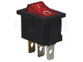 Intrerupator pentru aparate,P-O, rosu-iluminat,(marcaj 0-I ) TES-33 16(6)A, 250V AC