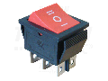Comutator pt.aparate,3 pozitii,2 poli, rosu,(marcaj I-0-II) TES-52 16(6)A, 250V AC