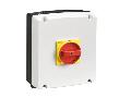 IEC/EN TYPE IP65 Cutie ne metalica cu intrerupator rotativ, tetrapolar. WITH ROTATING RED/YELLOW HANDLE, 63A