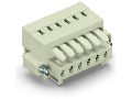 1-conductor female plug; 100% protected against mismating; Screw flange; 1.5 mm; Pin spacing 3.5 mm; 11-pole; 1,50 mm; light gray