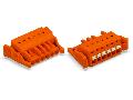 1-conductor female plug; push-button; Locking lever; 2.5 mm; Pin spacing 5.08 mm; 4-pole; 2,50 mm; orange