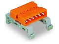 Double pin header; DIN-35 rail mounting; Pin spacing 5.08 mm; 15-pole; orange