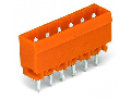 THT male header; 1.2 x 1.2 mm solder pin; straight; Pin spacing 5.08 mm; 13-pole; orange