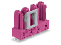 Socket for PCBs; straight; 4-pole; Cod. B; pink
