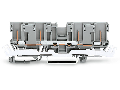 4-pin carrier terminal block; with shield contact; for DIN-rail 35 x 15 and 35 x 7.5; gray