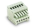 1-conductor female plug; 100% protected against mismating; 0.5 mm; Pin spacing 2.5 mm; 2-pole; 0,50 mm; light gray