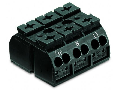 4-conductor chassis-mount terminal strip; 3-pole; PE-N-L1; without ground contact; for 3 mm  screw and nut; 4 mm; 4,00 mm; black