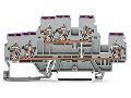 3-conductor, double-deck terminal block; 6-conductor through terminal block; L; internal commoning; conductor entry with violet marking; for DIN-rail 35 x 15 and 35 x 7.5; 2.5 mm; CAGE CLAMP; 2,50 mm; gray