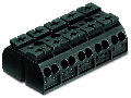 4-conductor chassis-mount terminal strip; 5-pole; without ground contact; 4 mm�; 4,00 mm�; black