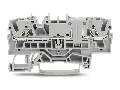2-conductor through terminal block; 2.5 mm�; with test option; same profile as 2-conductor disconnect terminal block; side and center marking; for DIN-rail 35 x 15 and 35 x 7.5; Push-in CAGE CLAMP�; 2,50 mm�; gray