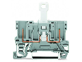 2-pin disconnect carrier terminal block; with shield contact; for DIN-rail 35 x 15 and 35 x 7.5; gray