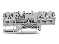 4-conductor through terminal block; 2.5 mm�; with test option; same profile as 4-conductor disconnect terminal block; side and center marking; for DIN-rail 35 x 15 and 35 x 7.5; Push-in CAGE CLAMP�; 2,50 mm�; gray