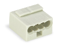 MICRO PUSH WIRE® connector for junction boxes; for solid conductors; 0.8 mm Ø; 4-conductor; light gray housing; light gray cover; Surrounding air temperature: max 60°C; light gray