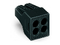 PUSH WIRE® connector for junction boxes; for solid and stranded conductors; max. 2.5 mm²; 4-conductor; Black housing; black cover; Max. surrounding air temperature: 105 °C; 2,50 mm²