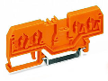 Spacer of same profile; suitable for 4-conductor terminal blocks of horizontal type; orange