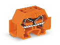 4-conductor terminal block; without push-buttons; with snap-in mounting foot; for plate thickness 0.6 - 1.2 mm; Fixing hole 3.5 mm Ø; 4 mm²; CAGE CLAMP®; 4,00 mm²; orange