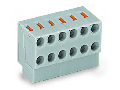 2-conductor modular PCB connector; for solder pin strip; push-button; 0.8 mm Ø; Pin spacing 3.5 mm; 5-pole; 0,50 mm²; gray