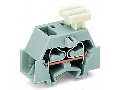 4-conductor terminal block; on one side with push-button; with fixing flange; for screw or similar mounting types; Fixing hole 3.2 mm ; 2.5 mm; CAGE CLAMP; 2,50 mm; orange