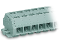 4-conductor terminal strip; 3-pole; without push-buttons; with snap-in mounting feet; for plate thickness 0.6 - 1.2 mm; Fixing hole 3.5 mm ; 1.5 mm; CAGE CLAMP; 1,50 mm; gray