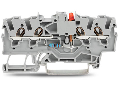 Component terminal block; 4-conductor; LED (red); 24 VDC; for DIN-rail 35 x 15 and 35 x 7.5; 1.5 mm; Push-in CAGE CLAMP; 1,50 mm; gray
