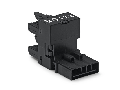 h-distribution connector; 5-pole; Cod. A; 1 input; 2 outputs; outputs on one side; 2 locking levers; black