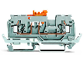 2-conductor disconnect/test terminal block; with shield contact; with test port; for 2 mm and 3 mm Ø test plugs; for DIN-rail 35 x 15 and 35 x 7.5; 2.5 mm²; CAGE CLAMP®; 2,50 mm²; gray