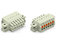 1-conductor female plug; 100% protected against mismating; push-button; clamping collar; 1.5 mm²; Pin spacing 3.5 mm; 5-pole; 1,50 mm²; light gray