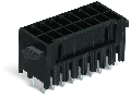 THR male header, 2-row; 0.8 x 0.8 mm solder pin; straight; 100% protected against mismating; Levers; Pin spacing 3.5 mm; 2 x 18-pole; black
