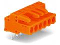 THT female header; 0.6 x 1.0 mm solder pin; angled; Pin spacing 5.08 mm; 9-pole; orange