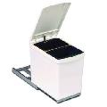 Cos gunoi cu capac automat si extragere totala (2 cosuri), gri deschis